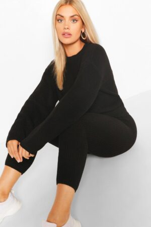 Womens Plus Slouchy Knitted Lounge Set - Black - 16-18, Black