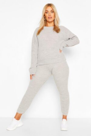 Womens Plus Slouchy Knitted Lounge Set - Grey - 24-26, Grey
