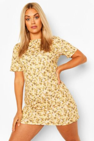 Womens Plus Ditsy Floral Shift Dress - Yellow - 22, Yellow