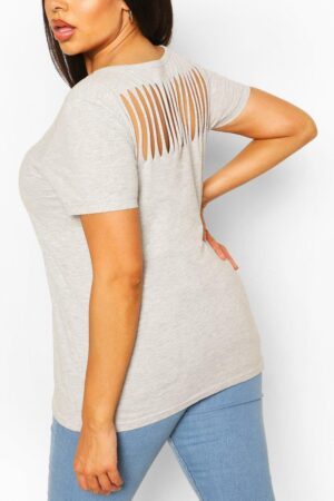 Womens Plus Slash Back T-Shirt - Grey - 16, Grey