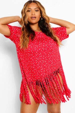 Womens Plus Ditsy Floral Tassel Beach Dress - Red - 16, Red