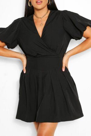 Womens Plus Ruched Ruffle Skater Dress - Black - 18, Black