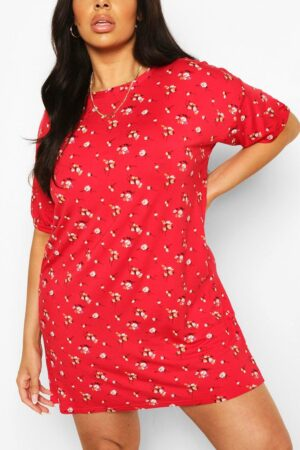 Womens Plus Floral Print T-Shirt Dress - Red - 16, Red