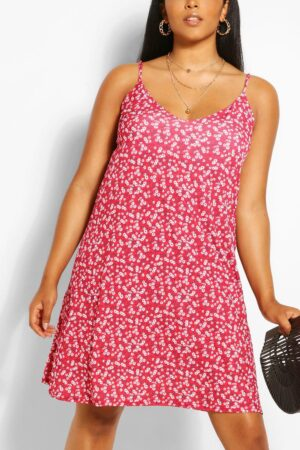 Womens Plus Floral Cami Mini Dress - Red - 16, Red