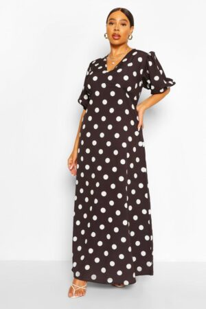 Womens Plus Polka Dot Puff Sleeve Midi Dress - Black - 16, Black