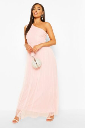 Womens Petite Occasion One Shoulder Maxi Dress - Pink - 10, Pink