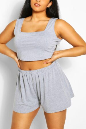 Womens Plus Jersey Vest Top And Flippy Short Co-Ord - Grey - 26, Grey