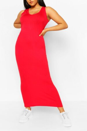 Womens Plus Scoop Neck Jersey Maxi Dress - Red - 24, Red