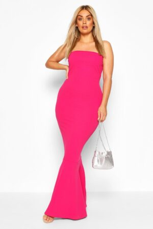 Womens Plus Bandeau Fishtail Maxi Dress - Pink - 24, Pink