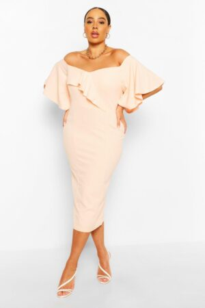 Womens Plus Bardot Cape Sleeve Midi Dress - Pink - 24, Pink