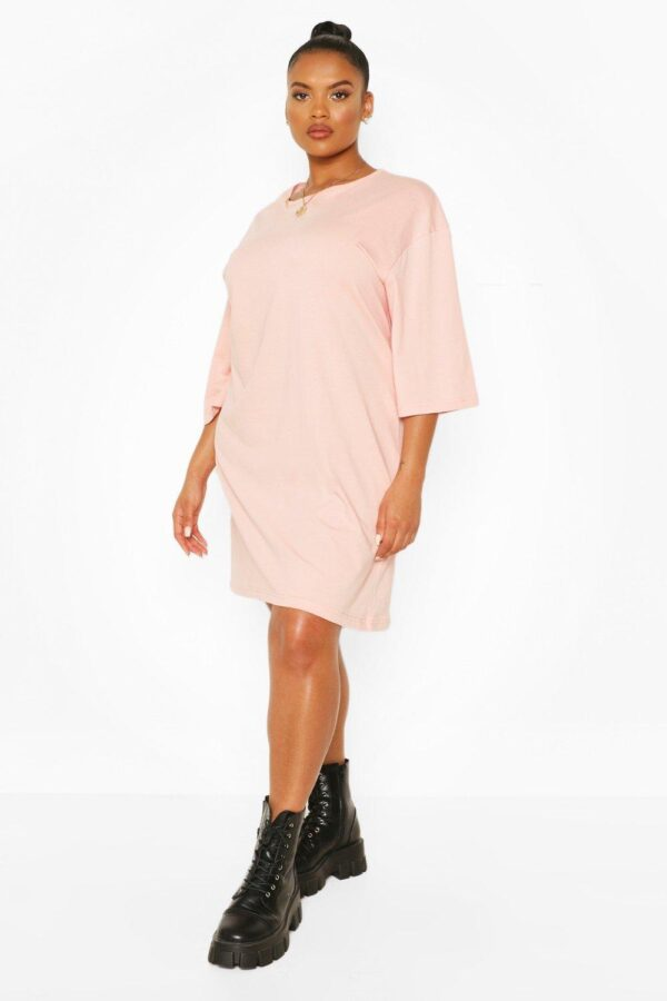 Womens Plus Drop Armhole T-Shirt Dress - Pink - 20, Pink