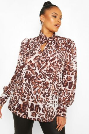 Womens Plus Leopard Snake Pussybow Blouse - Brown - 22, Brown