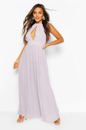 Womens Petite Occasion Pleated Panel Detail Maxi Dress - Grey - 8, Grey