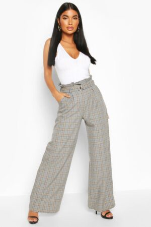 Womens Petite Wide Leg Belted Check Trousers - Grey - 14, Grey