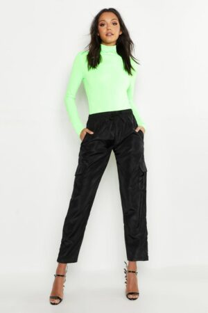 Womens Tall Neon Rib Roll Neck Top - Green - 10, Green