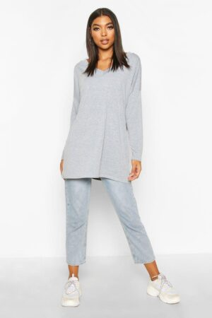 Womens Tall Oversized Long Sleeve Top - Grey - 8, Grey